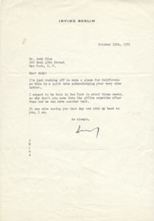 IRVING BERLIN - TYPED LETTER SIGNED 10/12/1951