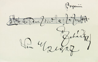 FRANZ LEHAR - AUTOGRAPH MUSICAL QUOTATION SIGNED 02/04/1927