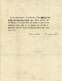 Autographs: PRESIDENT THEODORE ROOSEVELT - DOCUMENT SIGNED 1918