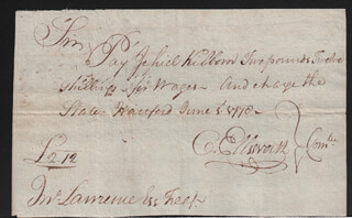 Autographs: CHIEF JUSTICE OLIVER ELLSWORTH - AUTOGRAPH DOCUMENT SIGNED 06/05/1778 CO-SIGNED BY: TIMOTHY SKINNER