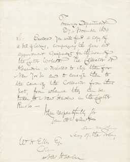 ASSOCIATE JUSTICE LEVI WOODBURY - MANUSCRIPT LETTER SIGNED 11/27/1834