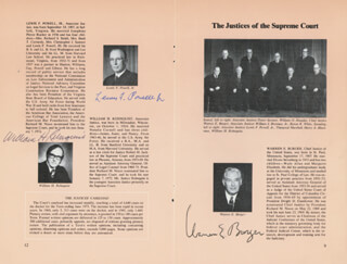 THE WARREN E. BURGER COURT - PAMPHLET SIGNED CIRCA 1973 CO-SIGNED BY: ASSOCIATE JUSTICE BYRON R. WHITE, CHIEF JUSTICE WARREN E. BURGER, ASSOCIATE JUSTICE LEWIS F. POWELL JR., ASSOCIATE JUSTICE WILLIAM O. DOUGLAS, ASSOCIATE JUSTICE POTTER STEWART, ASSOCIATE JUSTICE WILLIAM J. BRENNAN JR., ASSOCIATE JUSTICE THURGOOD MARSHALL, CHIEF JUSTICE WILLIAM H. REHNQUIST, ASSOCIATE JUSTICE HARRY A. BLACKMUN