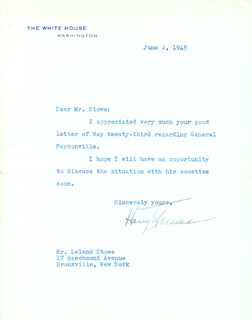 PRESIDENT HARRY S TRUMAN - TYPED LETTER SIGNED 06/02/1945