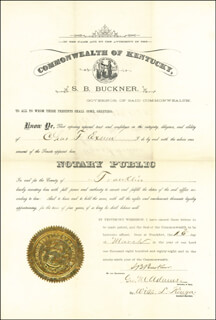 Autographs: LT. GENERAL SIMON B. BUCKNER - CIVIL APPOINTMENT SIGNED 03/10/1888
