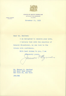 ASSOCIATE JUSTICE JAMES F. BYRNES - TYPED LETTER SIGNED 11/10/1958