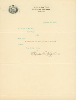 CHIEF JUSTICE CHARLES E HUGHES - TYPED LETTER SIGNED 01/10/1907