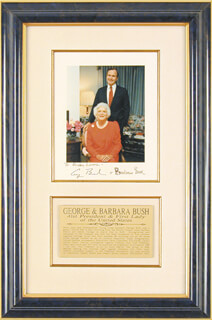 PRESIDENT GEORGE H.W. BUSH - AUTOGRAPHED INSCRIBED PHOTOGRAPH CO-SIGNED BY: FIRST LADY BARBARA BUSH