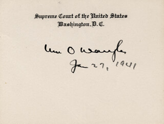 ASSOCIATE JUSTICE WILLIAM O. DOUGLAS - SUPREME COURT CARD SIGNED 01/27/1941