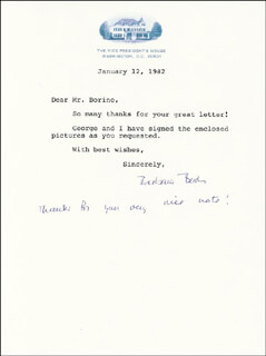 FIRST LADY BARBARA BUSH - TYPED LETTER SIGNED 01/12/1982