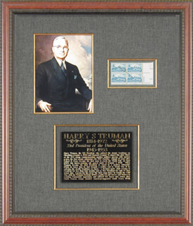 PRESIDENT HARRY S TRUMAN - STAMP(S) SIGNED