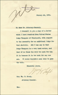 PRESIDENT WILLIAM H. TAFT - TYPED LETTER SIGNED 01/22/1906
