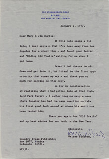 WALTER PIDGEON - TYPED LETTER SIGNED 01/02/1977