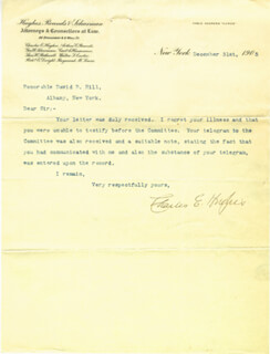 CHIEF JUSTICE CHARLES E HUGHES - TYPED LETTER SIGNED 12/31/1905