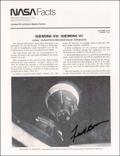 COLONEL FRANK BORMAN - PAMPHLET SIGNED 1/1966