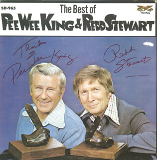 FRANK PEE WEE KING - RECORD ALBUM COVER SIGNED CO-SIGNED BY: REDD STEWART