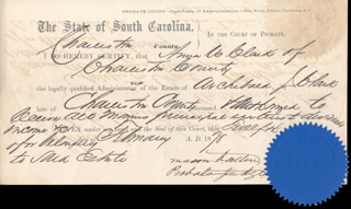 Autographs: MACON B. ALLEN - DOCUMENT SIGNED 02/12/1878