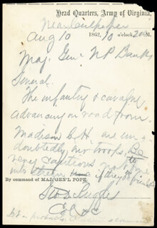 BRIGADIER GENERAL GEORGE D. RUGGLES - AUTOGRAPH LETTER SIGNED 08/10/1862