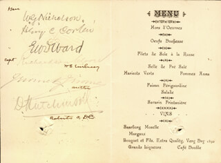 FIELD MARSHAL WILLIAM GUSTAVUS (1ST BARON NICHOLSON) NICHOLSON - MENU SIGNED 10/15/1902 CO-SIGNED BY: JEROME KLAPKA JEROME, LT. GENERAL HENRY C. CORBIN, SIR E. W. D. WARD