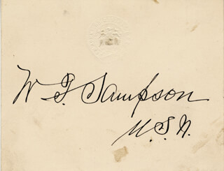 Autographs: REAR ADMIRAL WILLIAM T. SAMPSON - CALLING CARD SIGNED