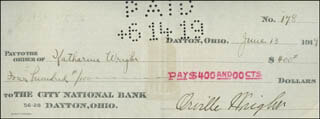ORVILLE WRIGHT - AUTOGRAPHED SIGNED CHECK 06/13/1919 CO-SIGNED BY: KATHARINE WRIGHT