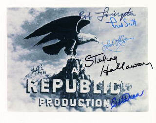 REPUBLIC PICTURES - AUTOGRAPHED SIGNED PHOTOGRAPH CO-SIGNED BY: LASH LA RUE, ROBERT LIVINGSTON, STERLING HOLLOWAY, FRED L. THE SINGING BUCKAROO SCOTT