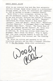 WOODY ALLEN - BIOGRAPHY SIGNED