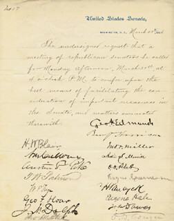 Autographs: PRESIDENT BENJAMIN HARRISON - MANUSCRIPT DOCUMENT SIGNED 03/28/1884 CO-SIGNED BY: HENRY W. BLAIR, OMAR D. CONGER, AUSTIN F. PIKE, JOHN I. MITCHELL, JOHN F. MILLER, ORVILLE H. PLATT, BRIGADIER GENERAL CHARLES H. VAN WYCK, JOSEPH N. DOLPH, GEORGE F. EDMUNDS, THOMAS W. PALMER, ANGUS CAMERON, WILLIAM P. FRYE, EUGENE HALE, MAJOR GENERAL JOSEPH R. HAWLEY, THOMAS BOWEN, HENRY L. DAWES, WARNER MILLER, JUSTIN MORRILL, GOVERNOR SHELBY M. CULLOM, GEORGE F. HOAR