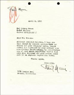 PAUL MUNI - TYPED LETTER SIGNED 04/04/1953
