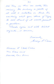 ENOLA GAY CREW (GEORGE R. CARON) - AUTOGRAPH LETTER SIGNED 03/15/1989