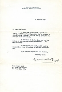 REAR ADMIRAL RICHARD E. BYRD - TYPED LETTER SIGNED 10/04/1937