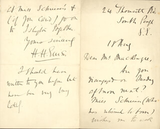 HAVELOCK HENRY ELLIS - AUTOGRAPH LETTER SIGNED 8/18