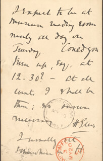 HAVELOCK HENRY ELLIS - AUTOGRAPH NOTE SIGNED CIRCA 1887