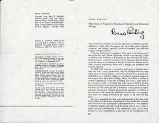 LINUS PAULING - PAMPHLET SIGNED