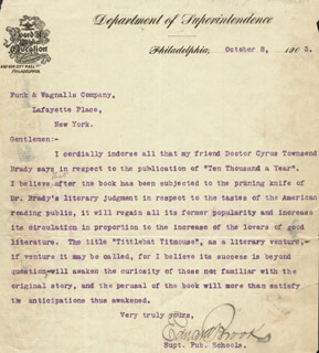 EDWARD BROOKS - TYPED LETTER SIGNED 10/08/1903