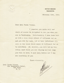 Autographs: AUCKLAND (BARON GEDDES I) GEDDES - TYPED LETTER SIGNED 02/26/1923