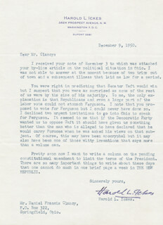 Autographs: HAROLD L. ICKES - TYPED LETTER SIGNED 12/09/1950