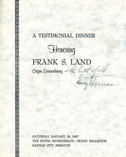 PRESIDENT HARRY S TRUMAN - PROGRAM SIGNED CIRCA 1957