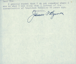 Autographs: ASSOCIATE JUSTICE JAMES F. BYRNES - TYPED NOTE SIGNED