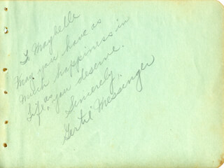 GERTIE MESSINGER - AUTOGRAPH NOTE SIGNED