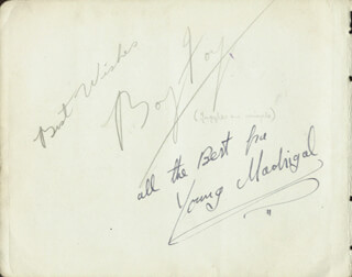 BOY FOY - AUTOGRAPH SENTIMENT SIGNED 02/1940 CO-SIGNED BY: THE FIVE SHERRY BROTHERS, THE FIVE SHERRY BROTHERS (DAN SHERRY), THE FIVE SHERRY BROTHERS (JIM SHERRY), THE FIVE SHERRY BROTHERS (SAM SHERRY), THE FIVE SHERRY BROTHERS (HARRY SHERRY), THE FIVE SHERRY BROTHERS (PETER SHERRY)