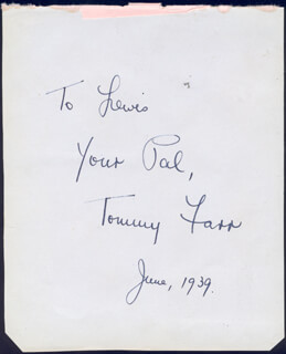 TOMMY FARR - AUTOGRAPH NOTE SIGNED 6/1939