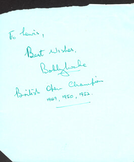 BOBBY LOCKE - AUTOGRAPH NOTE SIGNED