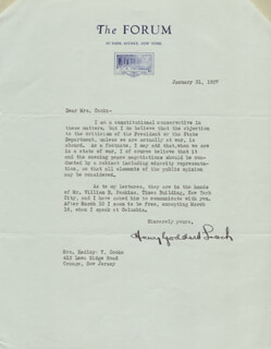 HENRY GODDARD LEACH - TYPED LETTER SIGNED 01/31/1927