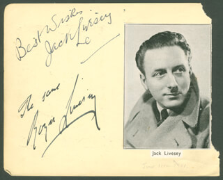 JACK LIVESEY - AUTOGRAPH CO-SIGNED BY: PATRICIA HASTINGS, DOUGLAS IVES, PETER GRAY, DAPHNE NEWTON, WILFRED STEPHENS, ROGER LIVESEY