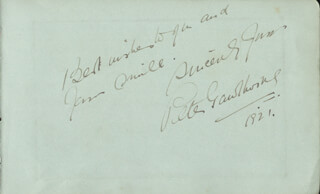PETER GAWTHORNE - AUTOGRAPH SENTIMENT SIGNED 1921 CO-SIGNED BY: FLORENCE SMITHSON