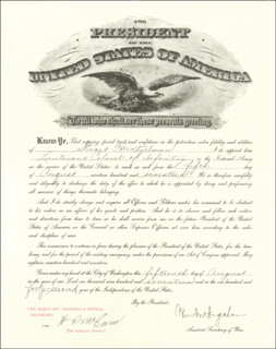 Autographs: WILLIAM MOULTON INGRAHAM - MILITARY APPOINTMENT SIGNED 08/15/1917 CO-SIGNED BY: MAJOR GENERAL HENRY P. MCCAIN