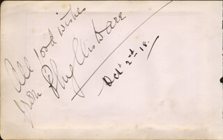PHYLLIS DARE - AUTOGRAPH SENTIMENT SIGNED CIRCA 1922 CO-SIGNED BY: TOM SMILES