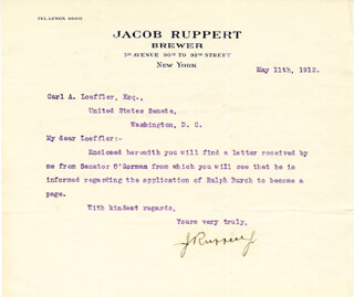 JACOB COLONEL RUPPERT JR. - TYPED LETTER SIGNED 05/11/1912