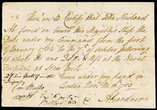 Autographs: ADMIRAL ALAN (BARON OF UTOOXETER I) GARDNER - AUTOGRAPH DOCUMENT SIGNED 11/17/1783