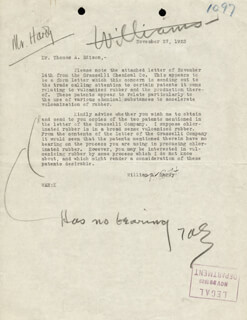 THOMAS A. EDISON - TYPED LETTER SIGNED 11/27/1923 CO-SIGNED BY: WILLIAM A. HARDY